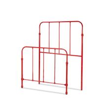See Details - Nolan Fashion Kids Metal Headboard and Footboard Bed Panels with Fun Versatile Design, Candy Red Finish, Full