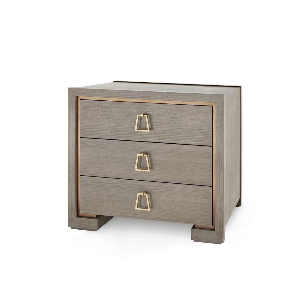 See Details - Blake 3-Drawer Side Table, Taupe Gray