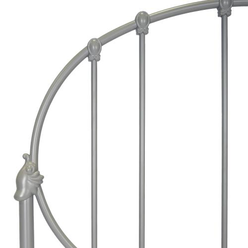 Emory Fashion Kids Metal Headboard with Oval-Shape Spindle Panel, Gray Finish, Twin