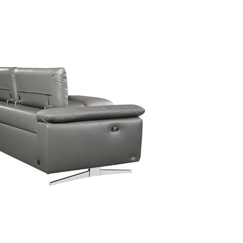 VIG Furniture - Divani Casa Maine - Modern Dark Grey Eco-Leather Left Facing Sectional Sofa with Recliner