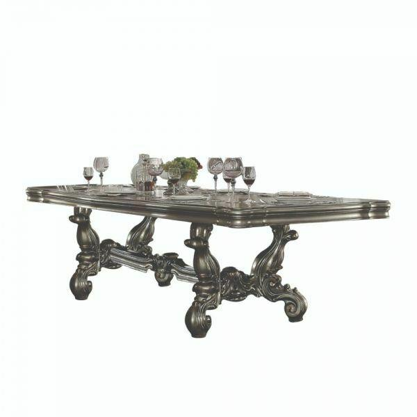 "ACME Versailles Dining Table (136""L) - 66830 - Antique Platinum"