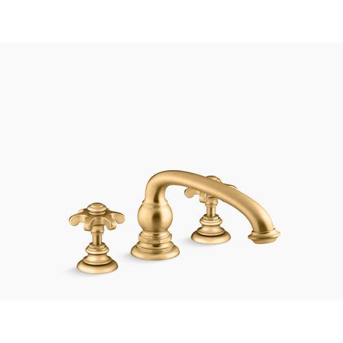 Kohler - Vibrant Brushed Moderne Brass Deck-mount Bath Prong Handle Trim