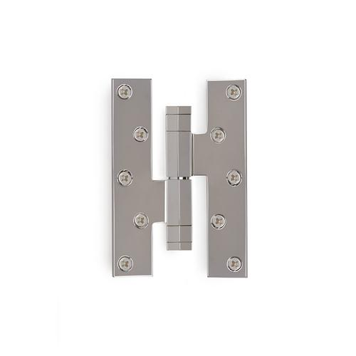 Brushed Nickel Modern Square on the Diamond Paumelle Hinge