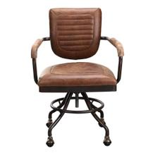 See Details - Foster Swivel Desk Chair Con Pana Brown Leather