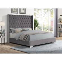 See Details - Alanis Queen Bed, Gray Velvet