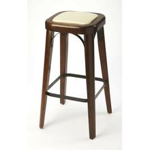 Enhance your kitchen, bar or workspace with this casual modern bar stool. Crafted from acacia and pine wood solids, it features a dark brown Coffee finish with a cream faux leather seat cushion, and a black iron foot rest with matching arched seat frame e