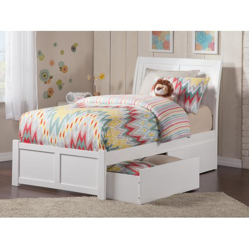 Portland Twin Flat Panel Foot Board with 2 Urban Bed Drawers White