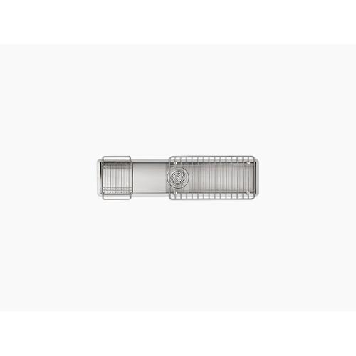 """33"""" X 8-1/4"""" X 6-5/16"""" Undermount Single-bowl Trough Kitchen Sink, Includes Wire Basket and Rack"""