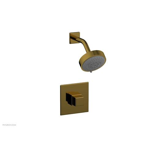 MIX Pressure Balance Shower Set - Cube Handle 290-24 - French Brass