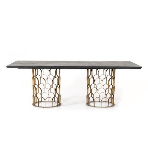 VIG Furniture - Modrest Natalie Modern Black Acacia & Antique Brass Dining Table