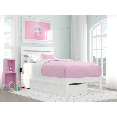 Atlantic Furniture - Oxford Twin Bed with USB Turbo Charger and 2 Drawers in White
