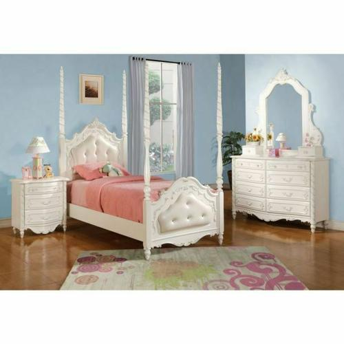 ACME Pearl Twin Bed (Poster/Padded HB/FB) - 11000T - Pearl White
