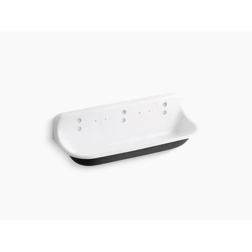 White 5' Wall-mounted Wash Sink With 3 Faucet Holes