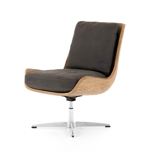 Nubuck Charcoal Cover Burbank Swivel Chair
