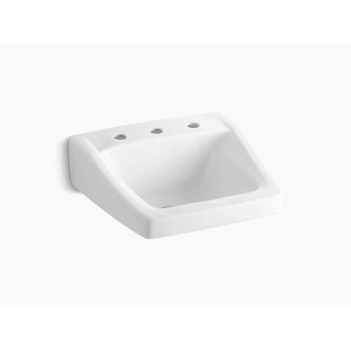 "White 20"" X 18-1/4"" Wall-mount/concealed Arm Carrier Bathroom Sink With 8"" Widespread Faucet Holes"