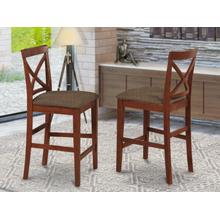 X-Back stool with upholstered seat in Dark Brown finish