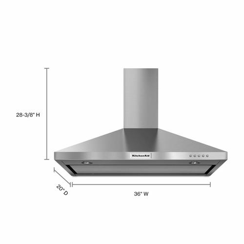 """KitchenAid - 36"""" Wall-Mount, 3-Speed Canopy Hood - Stainless Steel"""