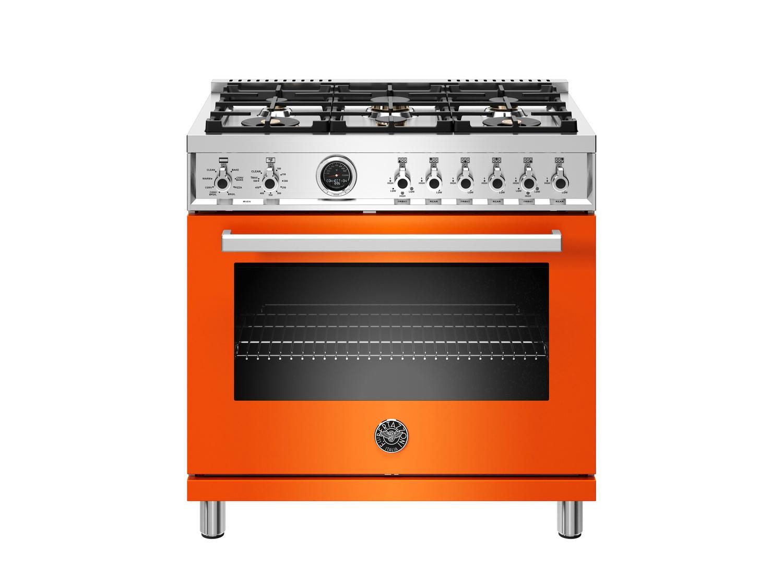 Bertazzoni36 Inch Dual Fuel Range, 6 Brass Burner, Electric Self-Clean Oven Arancio