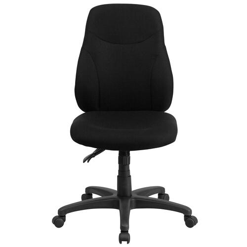Mid-Back Black Fabric Multifunction Ergonomic Swivel Task Chair