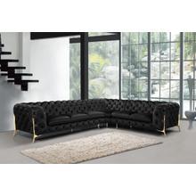 Divani Casa Sheila - Modern Black Velvet Sectional Sofa