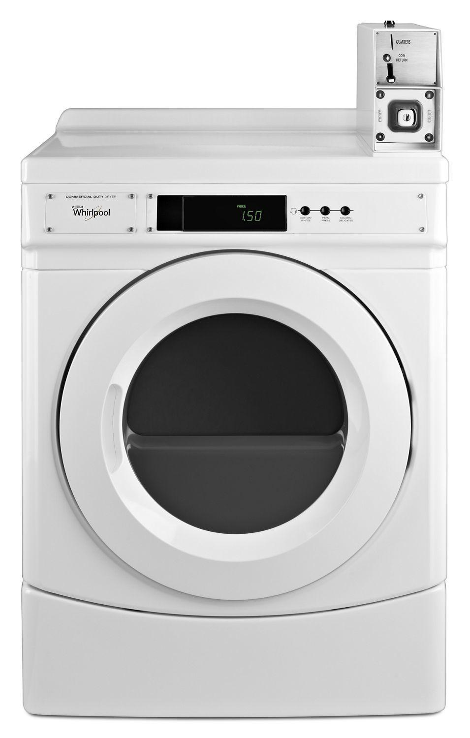 "Whirlpool27"" Commercial Electric Front-Load Dryer Featuring Factory-Installed Coin Drop With Coin Box White"