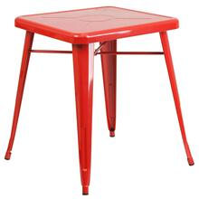 See Details - 23.75'' Square Red Metal Indoor-Outdoor Table