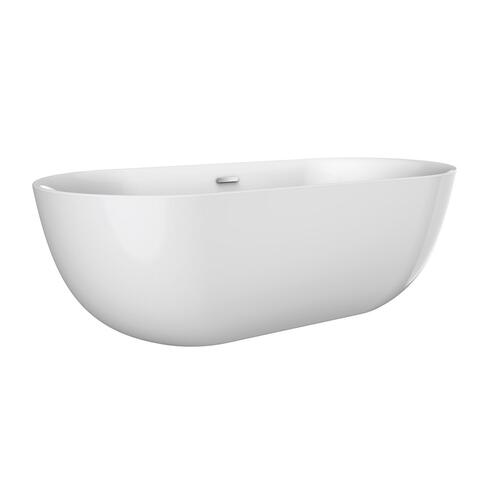 "Paige 59"" Acrylic Tub with Integral Drain and Overflow - Polished Brass Drain and Overflow"