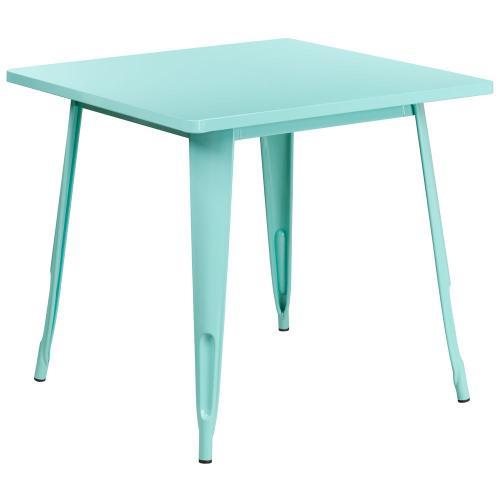 31.5'' Square Mint Green Metal Indoor-Outdoor Table