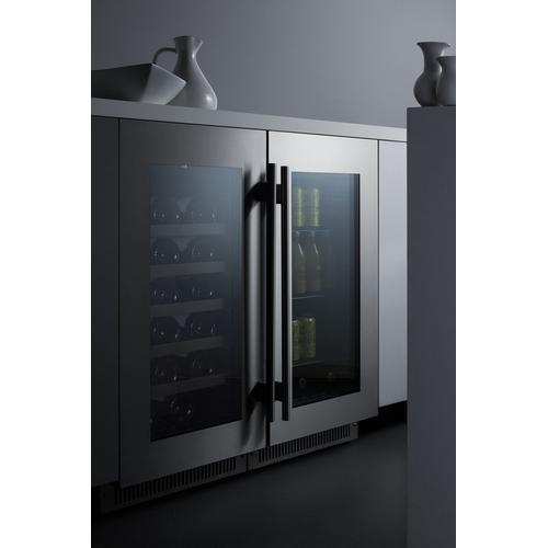 """18"""" Wide Built-in Wine Cellar With Seamless Stainless Steel Trimmed Glass Door for the Display and Refrigeration of Wine and Beverages"""