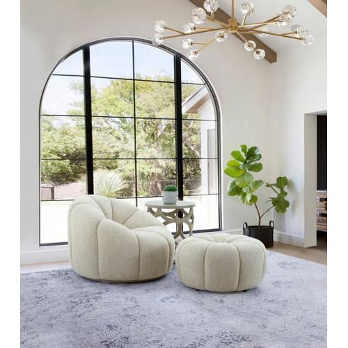 Gallery - Divani Casa Gadson - Contemporary White Sherpa Ottoman