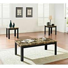 ACME Finely 3Pc Pack Coffee/End Table Set - 80320 - Dark Brown Faux Marble & Black