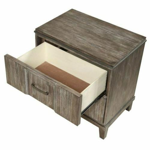 ACME Bayonne Nightstand (Qi Wireless Charge) - 23897 - Burnt Oak