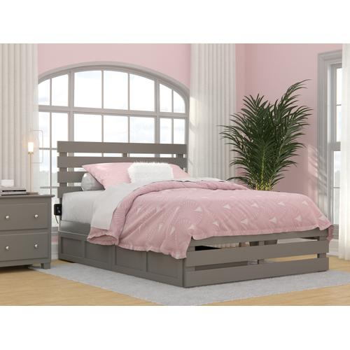 Atlantic Furniture - Oxford Full Bed with Footboard and USB Turbo Charger with 2 Drawers in Grey