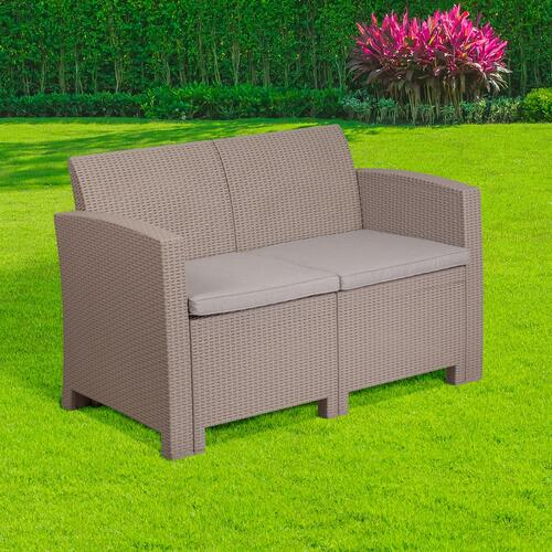 Light Gray Faux Rattan Loveseat with All-Weather Light Gray Cushions