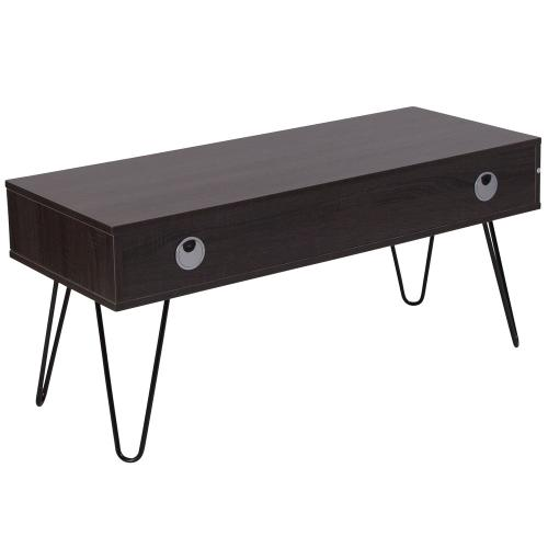 Driftwood Wood Grain Finish TV Stand with Black Metal Legs