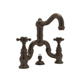 Tuscan Brass Acqui Deck Mount Bridge Lavatory Faucet with Crystal Cross Handle