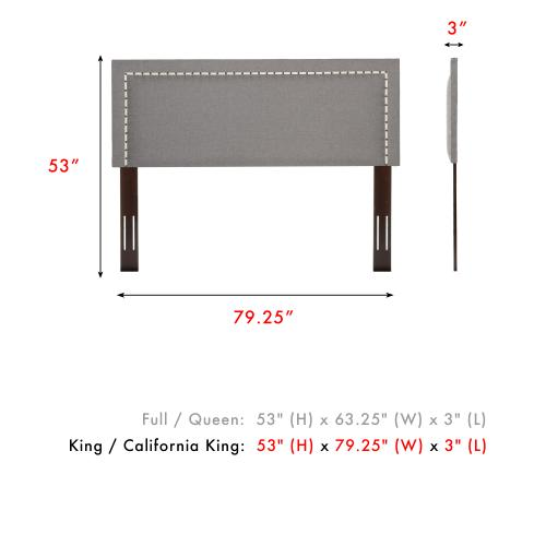 Wellford Upholstered Headboard with Adjustable Height and Contrast Tape Nailhead Trim, Jitterbug Ash Finish, King / California King