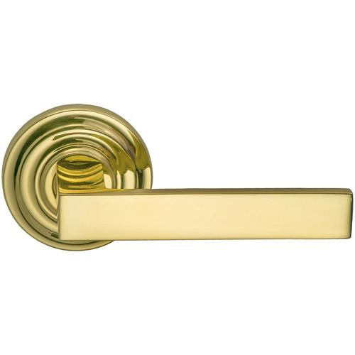 Product Image - Interior Modern Lever Latchset with Traditional Round Rose in (US3 Polished Brass, Lacquered)
