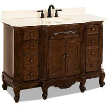 "50-1/4"" Nutmeg vanity with Antique Brass hardware, carved floral onlays, French scrolled legs, and preassembled Cream Marble top and oval bowl"