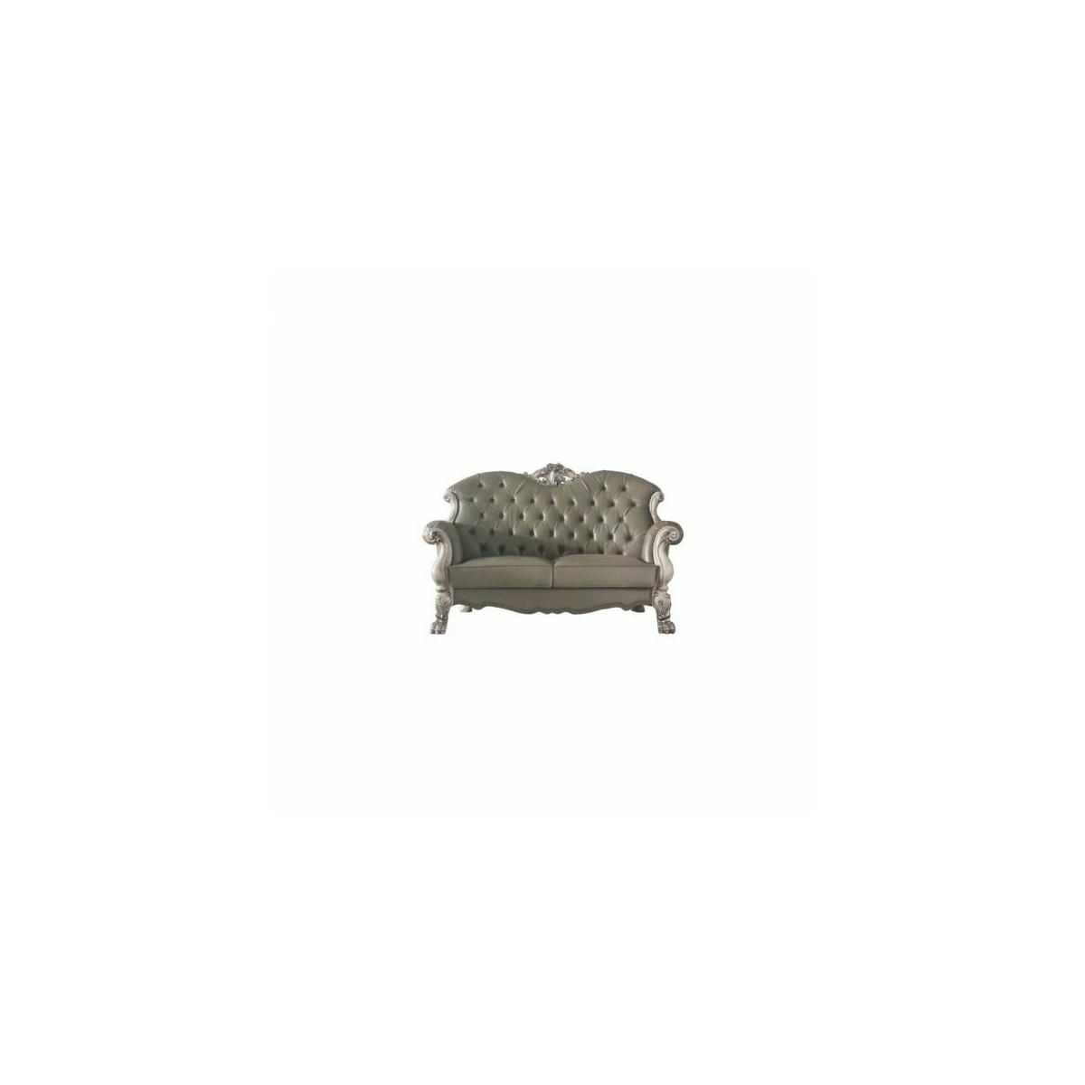 ACME Dresden Loveseat w/3 Pillows - 58176 - Traditional, Vintage - PU, Frame: Wood (Poplar, Ply), Poly-Resin (Fiberglass) - Vintage Bone White and PU