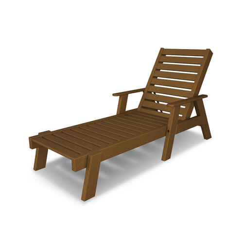 Teak Captain Chaise with Arms
