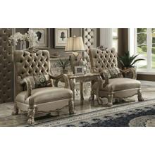 ACME Dresden Chair w/1 Pillow - 52092 - Bone Velvet & Gold Patina
