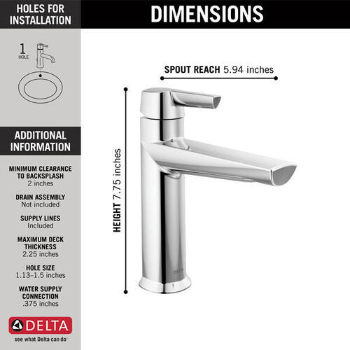 Lumicoat Chrome Single Handle Bathroom Faucet