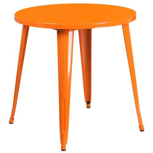 30'' Round Orange Metal Indoor-Outdoor Table