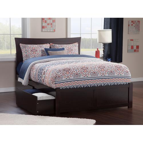 Metro King Flat Panel Foot Board with 2 Urban Bed Drawers Espresso
