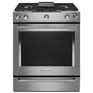 KitchenAid30-Inch 5-Burner Dual Fuel Convection Slide-In Range with Baking Drawer Stainless Steel