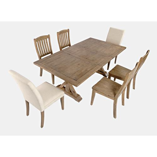Jofran - Carlyle Crossing Ext Table W/(4) Slatback Chairs, (2) Uph Chairs