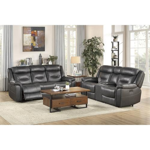 Homelegance - Power Double Reclining Sofa with Power Headrests and USB Ports