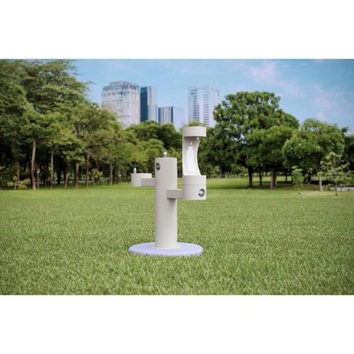 Elkay - Elkay Outdoor EZH2O Bottle Filling Station Tri-Level Pedestal, Non-Filtered Non-Refrigerated White