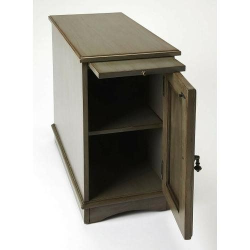 Butler Specialty Company - Designed to snuggle into a small space beside a favorite chair, this chairside chest provides a lot of convenience with pull-out tray for beverages and snacks and ample storage space behind the door with one adjustable shelf. Crafted from poplar hardwood solids and wood products with cherry veneer in a elegant Silver Satin finish.